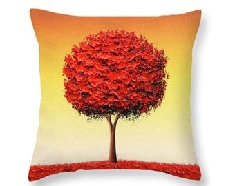 Red Tree Pillow, Autumn Throw Pillow, Fall Decor, Red Living Room Decor, Decorative Pillow Cushion, Colorful Couch Pillow, Golden Landscape