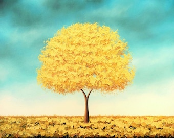 Golden Tree Art Print of Yellow Tree Painting, Whimsical Tree Artwork, Modern Blue and Yellow Wall Art, Autumn Gold Tree Print of Landscape