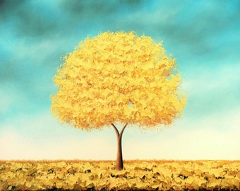 Golden Tree Art Print of Yellow Tree Oil Painting, Whimsical Artwork, Modern Blue and Yellow Wall Art, Autumn Gold Tree Print of Landscape