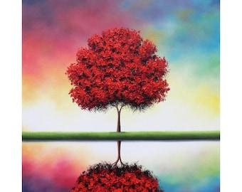 Colorful Tree Print, Contemporary Art, Modern Art Print, Red Tree, Reflection, Giclee Print of Autumn Landscape, Fall Tree Art, Autumn Tree