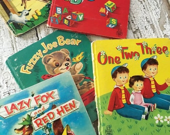 Set of 5 Children's Books Whitman Publishing Tell-A-Tales. Fuzzy Joe Bear, Lazy Fox and Red Hen, Surprise in The Barn, One Two Three, ABC