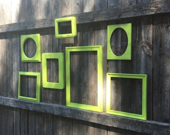 Lime Empty Frame Collection - Open Wall Frame Gallery - Set of 7 Wooden Frames