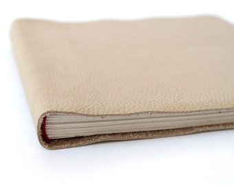 Square Tan Cream Leather Journal Sketchbook - Blank Book Faux Bois Fake Wood Real Leather