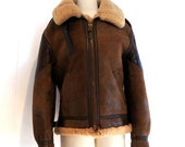 SALE SOLD B-3 Jacket Vintage Bomber Shearling Mens 36 Womens Med Brown Distressed Sheepskin Leather Ironside Patch Avirex aka Cockpit Made i
