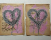 Heart Music. Origanal Paint and Ink illustration on Vintage Music Paper SALE