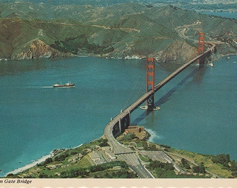 Vintage Golden Gate Bridge, San Francisco postcard, 1974