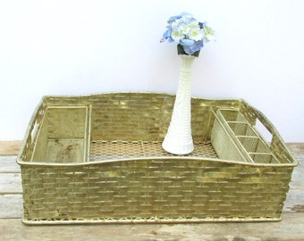 SALE Beautiful Vintage Silver Plated Basketweave Serving Tray 3 Piece with Silver Caddies