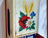 Vintage Match Holder/Kitchen Matchstick  Dispenser/ Fifties Match Holder/  Red Painted Tin