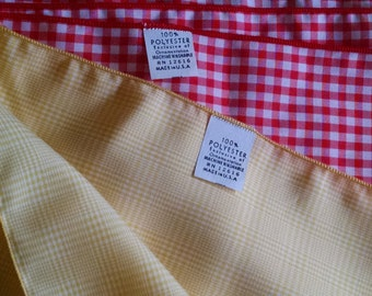 Two Square Scarves- Yellow Glen Plaid and Red Gingham