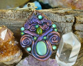 Purple Druid Necklace handmade ooak unique swirl metallic fantasy cosplay jewelry