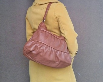 Brown Leather Bag, Stylish Purse, Tan Trendy Hobo Bags, Ruffled Casual Shoulder Handbag, Dalay