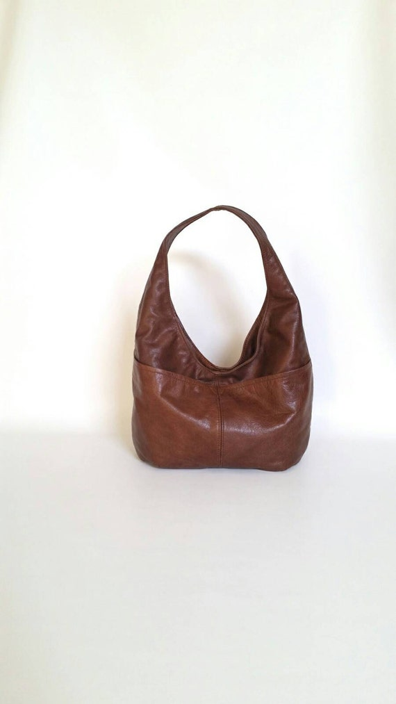 Brown Leather Hobo Purse with Outside Pockets Handmade
