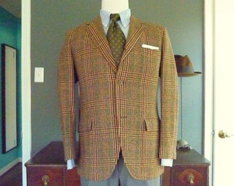 TNSIL Vintage 1960s Gun Club Check 100% Wool Trad / Ivy League Sport Coat Tweed SACK Jacket Sz 40 S or R.  Made in USA.