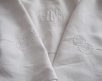 Vintage  French Dowry Sheet . Fine Linen Monogram JF. Hand worked  White.