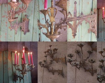 Antique French Gothic Candle Lights. A pair,  Stunning Lighting from the late 1880's.