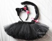 BLACK CAT Halloween Costume Tutu, Includes Tutu, Ear Headband & tail - Sizes 18, 24 Months, 2t, 3t, 4t, 5t