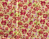 Flannel Half Yard - yellow with pink and red flowers