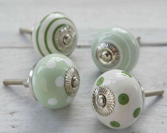 Green Ceramic Porcelain Spotted striped Polka dot colourful Striped Cupboard Kitchen Drawer Hardware