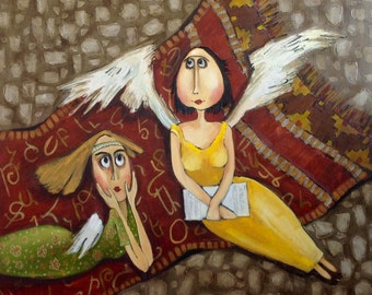 Two angels. Original one-of-a-kind oil painting .Ready to ship.