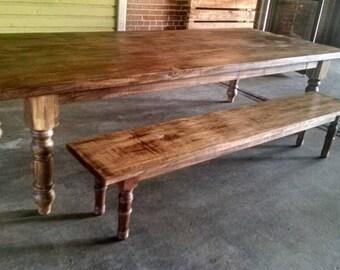 Farmstyle table, reclaimed wood table, turned leg table