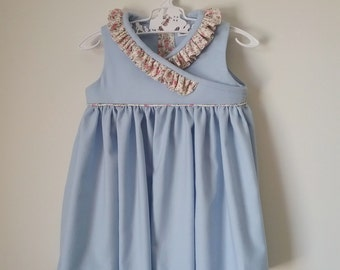 Handmade Girls Dress | The Floral Blues | Size 12 months