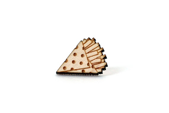 French fries pin - kitsch pin - food badge - miniature brooch - not another enamel pin - graphic accessory - lasercut maple wood - steel