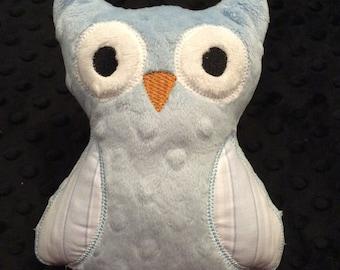 Baby Blue Minky Owl, CLEARANCE SALE