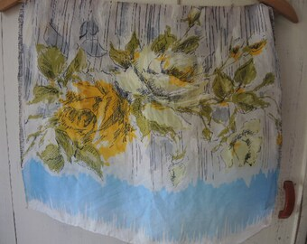 Vintage 1950s scarf silk floral roses sketched  17 x 44 inches