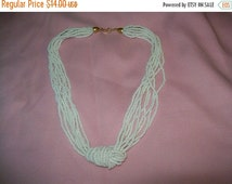 50% OFF Trifari beads, Trifari white bead multi strand necklace, knot beads, knotted beads necklace
