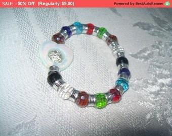 SALE multicolor bead bracelet, vintage stretch bead bracelet with heart design