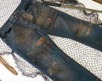 Wasteland Post Apocalyptic Men's Dark Blue Jeans, Walking Dead Inspired, Mad Max, Rock & Roll, Dystopian, Motorcycle Pant, Distressed Denim