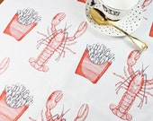 Lobster and Chips Tea Towel