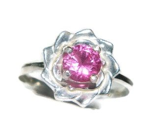 Pink Sapphire Ring,  Flower Ring, Sterling Silver 1 Carat Stone