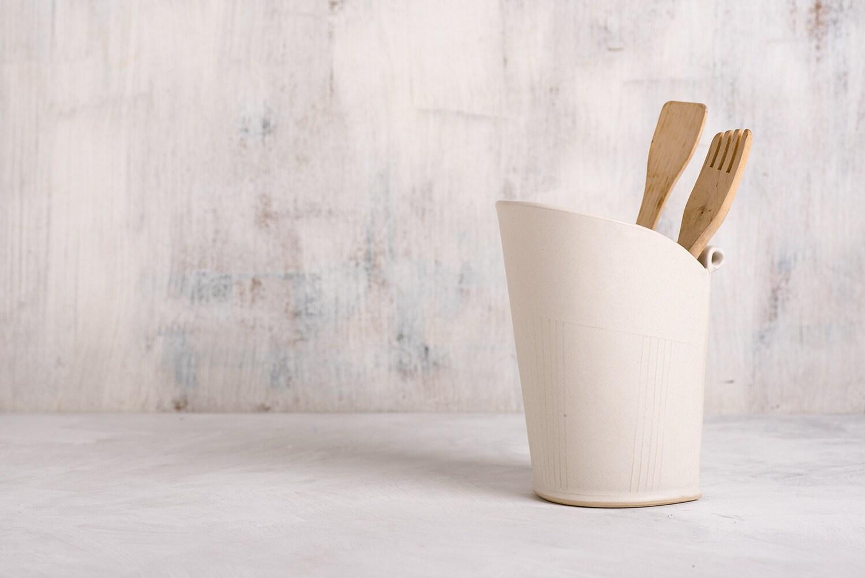 ceramic utensil holder white storage pot modern utensil jar - 🔎zoom