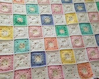 Crochet Pastel Patchwork Blanket/Crochet Child's Blanket