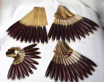Vintage Siam bronze flatware set...Thai bronze flatware…48 pieces...service for 12.