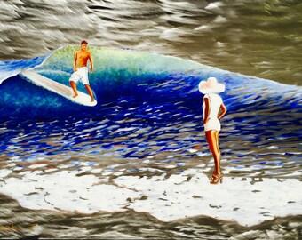 Surfing #Malibu #surfer #surfing #waves #ocean #surfboard #metal art #Original wall decor #metal #art #painting #oil painting #blue #green