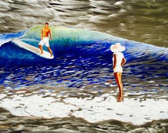 Surfing Art, Malibu California Painting on Metal, Aluminum Prints, Original Wall Art Decor on Stainless Steal