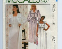 FF 80s Womens Nightgown & Robe Vintage Sewing Pattern - McCalls 9437 - Designer LAURA ASHLEY, Size 14-16, Bust 36-38, Uncut