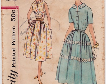"50s Full One Piece Shirt Waist Dress Vintage Sewing Pattern - Simplicity 2461 - Size 16, Bust 36"", Complete"