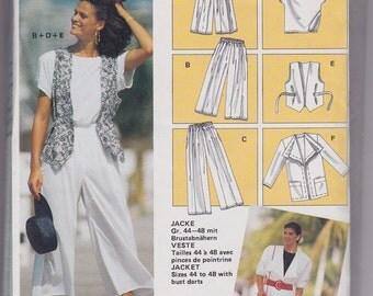 FF Bust 36-48 Misses Suit with Jacket, Vests, Pants & Top Vintage Sewing Pattern [Burda 5047] Size 10-22 UNCUT
