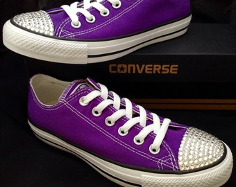 Purple Converse Low Top Electric Grape Custom Bling Wedding Kicks w/ Swarovski Crystal Rhinestone Jewels Chuck Taylor All Star Mens Shoes