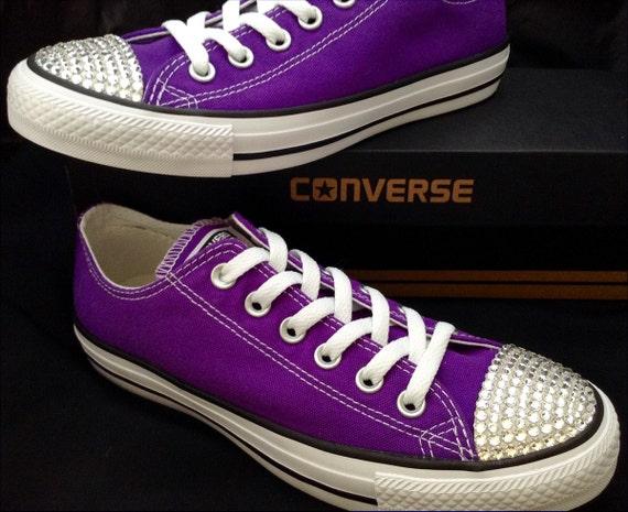 Purple Converse Low Top Electric Grape Custom Bling Wedding Kicks w/ Swarovski Crystal Rhinestone Jewels Chuck Taylor All Star Mens Shoes
