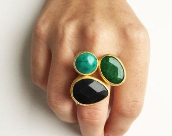 handmade, gold plated, adjustable ring, ring, stone, semi-precious stone, 22k, turquoise, black, green