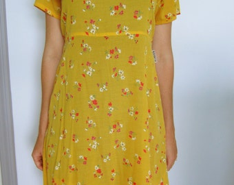 Yellow Vintage 1990s Floral Dress