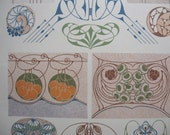 Antique German Art Nouveau Pattern Book Plate Graphics, Stylized Fruit, Abstract Owl, Nautilus Shell, Pods, Turn of the Century Patterns