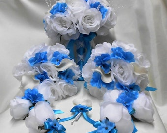 Wedding Silk Flower Bridal Bouquets Your Colors 18 pcs Package White Calla lily Turquoise Blue Bridesmaid Boutonnieres Corsage FREE SHIPPING