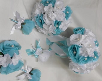 Wedding Silk Flower Bridal Bouquets 18 Pieces package White Pool Aqua Blue Roses Bridesmaids Boutonnieres Corsages FREE SHIPPING