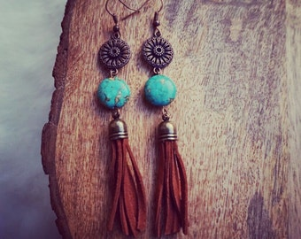 Boho Tassel Earrings Leather Earrings Fringe Earrings Festival Jewelry