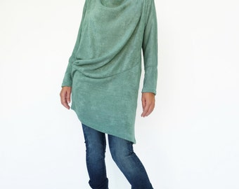NO.182 Mint Knitted Batwing Sleeves Sweater, Cowl Neck Tunic, Women's Sweater